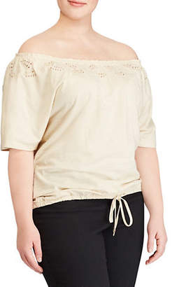 Lauren Ralph Lauren Plus Plus Off-the-Shoulder Eyelet Trim Cotton Top