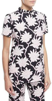 Valentino Short-Sleeve High-Neck Rhododendron-Print Top