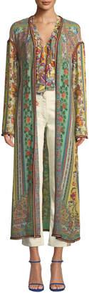 Etro Long Ribbon-Trimmed Floral Silk Coat