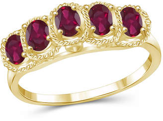 FINE JEWELRY Womens Red Glass-Filled Ruby 5 Stone Ring in Gold Over Silver