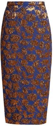 Rochas Floral-jacquard pencil skirt