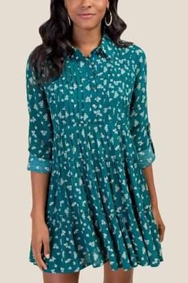 francesca's Madeline Floral Shirt Dress - Forest