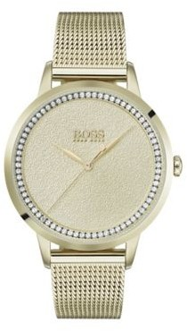 BOSS Yellow-gold-plated watch with textured dial and mesh bracelet