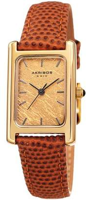 Akribos XXIV Gold Tone Dress Quartz Watch With Leather Strap [AK1046BK]