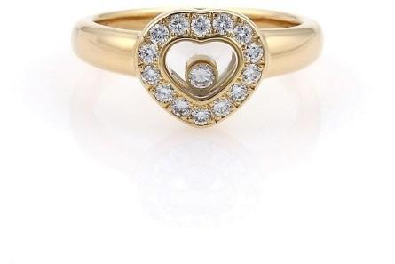ChopardChopard 18K Yellow Gold Happy Diamond Bezel Heart Ring Size 6