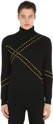Raf Simons Embroidered Wool Turtleneck Sweater
