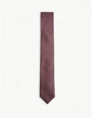BOSS Grid and dot pattern silk tie