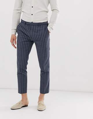 Twisted Tailor tapered cropped suit trousers in blue pinstripe