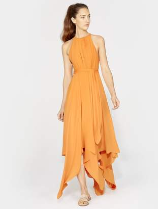 Halston SLEEVELESS HIGH NECK GOWN WITH STRAP DETAIL