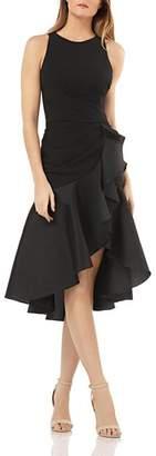Carmen Marc Valvo Ruffled Crepe Cocktail Dress