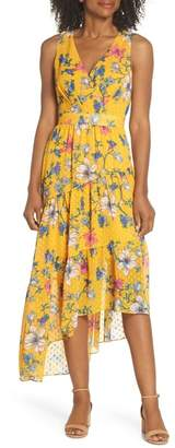 Eliza J Sleeveless Asymmetrical Hem Midi Dress