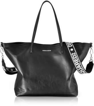 DSQUARED2 Black Leather Shopping Bag W/detachable Signature Logo Strap