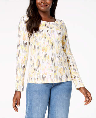 Karen Scott Print Long-Sleeve T-Shirt, Created for Macy's