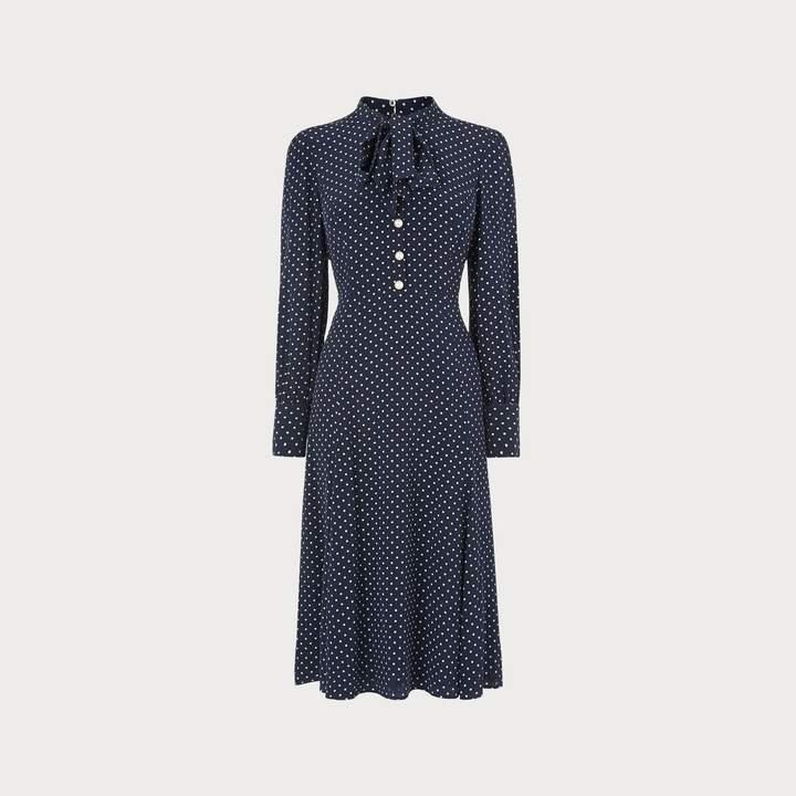 Mortimer Navy Polka Dot Silk Dress