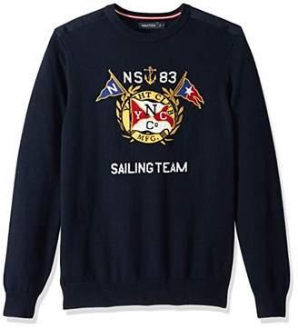 Nautica Men's Big and Tall Graphic Intarsia Crewneck Sweater
