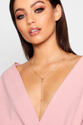 boohoo Diamond Detail Plunge Necklace