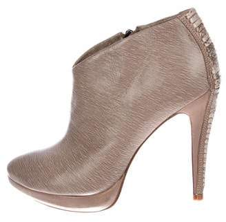 Alexandre Birman Leather Round-Toe Booties