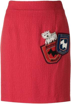Moschino bead embroidered dog pocket skirt