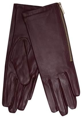 J by Jasper Conran Dark Red Leather Side Zip Gloves