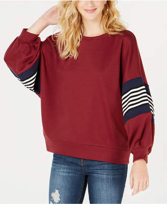 Say What Juniors' Striped Balloon-Sleeve Sweatshirt