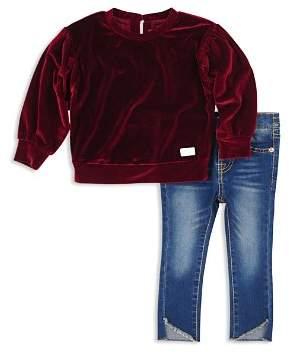 7 For All Mankind Girls' Velvet Top & Asymmetrical-Hem Jeans Set - Baby