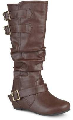 Brinley Co. Womens Low-Wedge Buckle Slouch Boot
