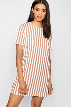 boohoo Tonal Stripe Short Sleeved Shift Dress
