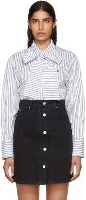 MSGM White and Black Striped Bow Tie Shirt