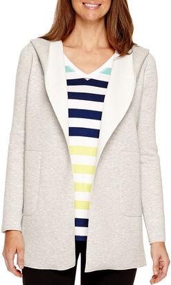 LIZ CLAIBORNE Liz Claiborne Scuba Long-Sleeve Open Cardigan Hoodie Jacket - Tall $90 thestylecure.com
