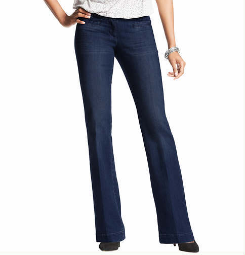 LOFT Tall Curvy Trouser Leg Jeans in Winded Blue Wash