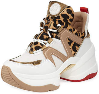 ba575a7cae47 MICHAEL Michael Kors Olympia Leather Chunky Trainer Sneakers