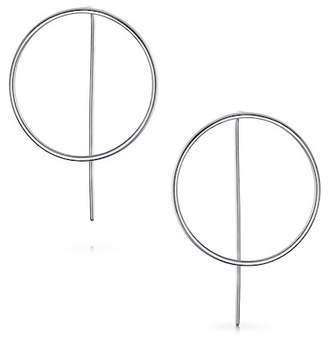 Bling Jewelry Sterling Silver Front Facing Modern Hoop Drop Earrings