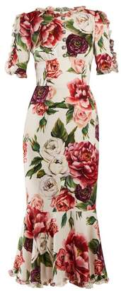 Dolce & Gabbana - Peony Print Silk Charmeuse Dress - Womens - White Multi