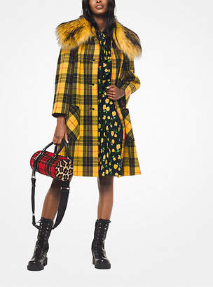 Michael Kors Tartan Wool-Melton And Faux Fur Coat