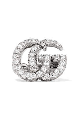Gucci 18 Karat White Gold Diamond Clip Earring One Size