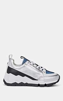 Pierre Hardy Women's Metallic Leather & Denim Sneakers - Blue