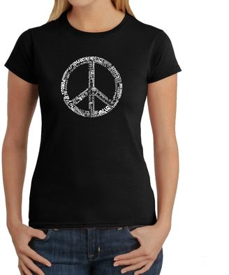 Women's Word Art Peace 77 T-Shirt in Black $19.99 thestylecure.com