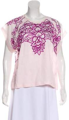 Alice McCall Embroidered Short Sleeve Top
