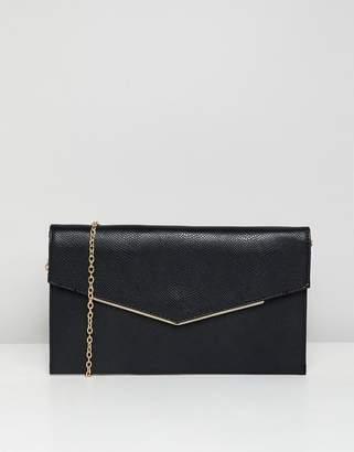New Look foldover clutch bag in black