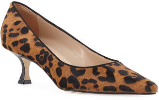 Manolo Blahnik Srila Leopard-Print Fur Low-Heel Pumps