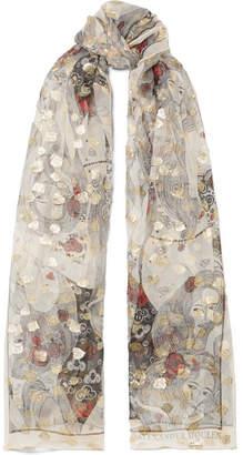 Alexander McQueen Fil Coupé Silk-blend Chiffon Scarf - Gray