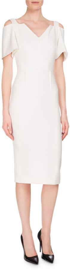 Roland Mouret Awalton Cold-Shoulder Sheath Dress, White