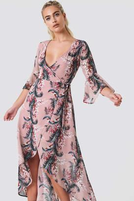 Glamorous Wrap Maxi Print Dress Black Pink