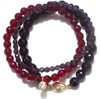 Satya Jewelry Women's Amethyst & Fuchsia Agate Gold Evil Eye Stretch Bracelet Set