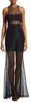 Halston Sheer Lace Evening Gown