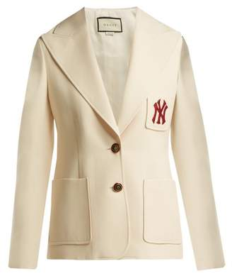 Gucci - Ny Yankees Patch Single Breasted Wool Blend Blazer - Womens - Ivory Multi