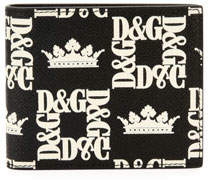 Dolce & Gabbana Men's Logo-Print Leather Bifold Wallet