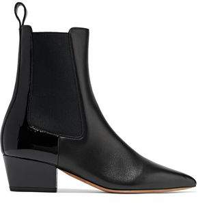 Valentino Rouge-Ish Matte And Patent-Leather Ankle Boots