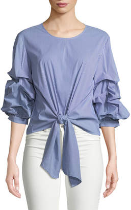 Marled By Reunited Balloon-Sleeve Tie-Front Blouse