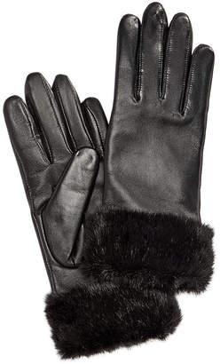 Charter Club Faux Fur-Cuff Leather Tech Gloves